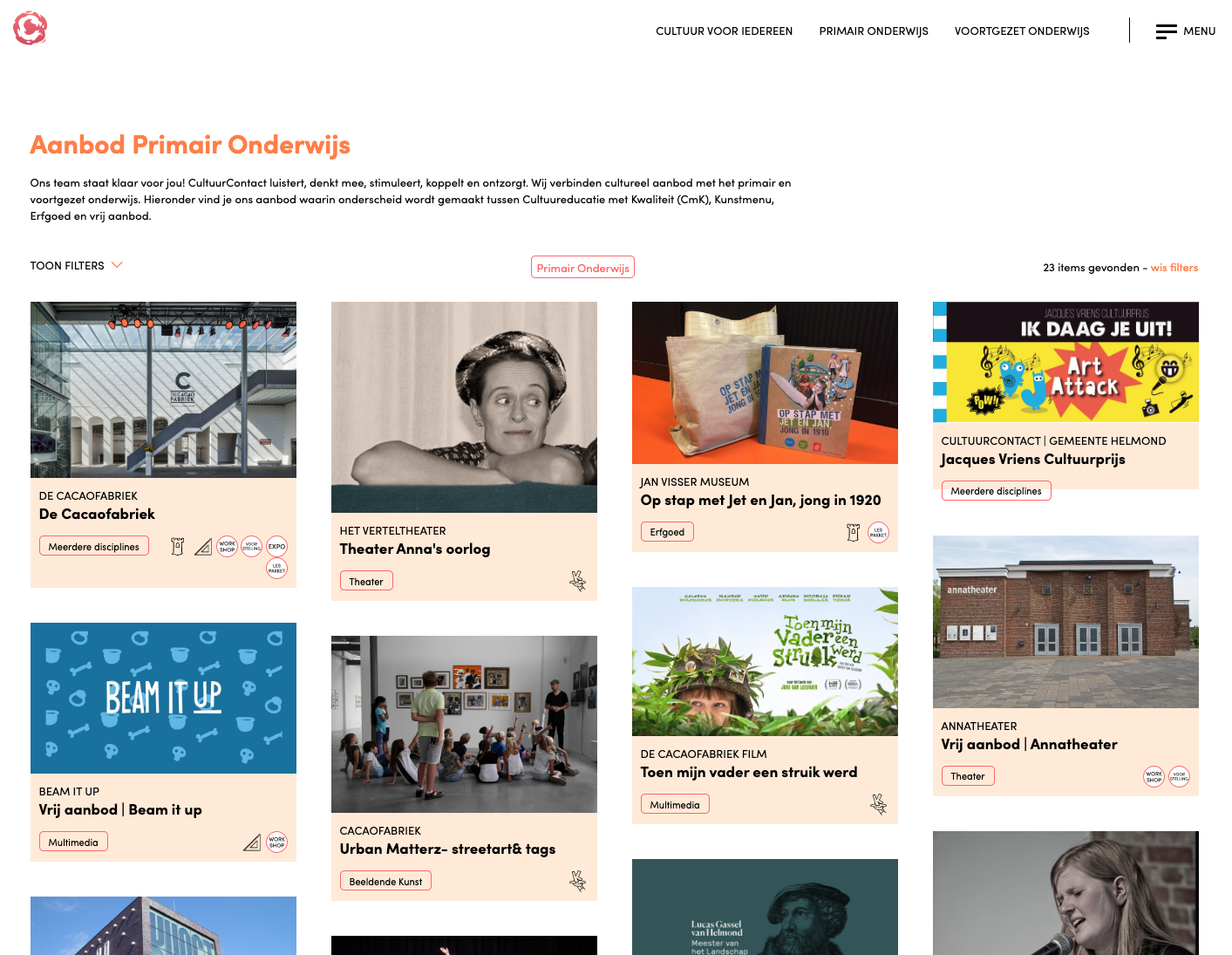 Cultuur Contact website 2020